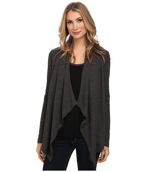 Karen Kane - Double Knit Tank Cardigan Combo (Charcoal) Women