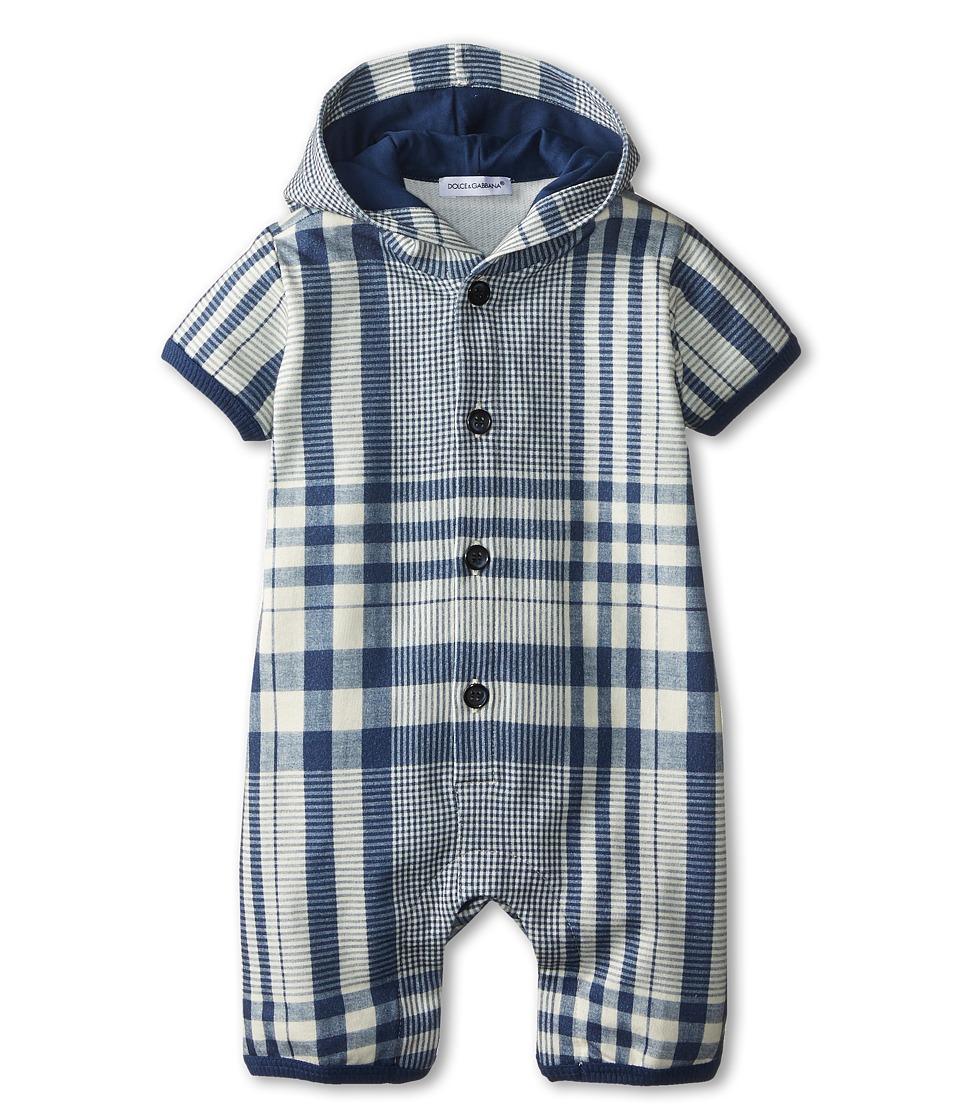 Dolce & Gabbana - Plaid Hooded One-Piece (Infant) (Blue/White) Men's Jumpsuit & Rompers One Piece