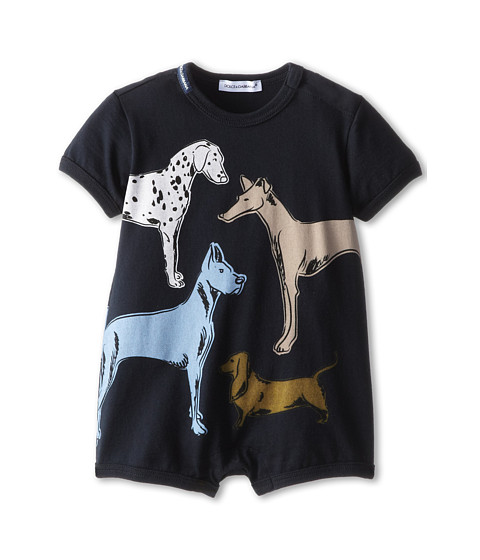 Dolce & Gabbana - Dog Print One-Piece (Infant) (Navy) Men's Jumpsuit & Rompers One Piece