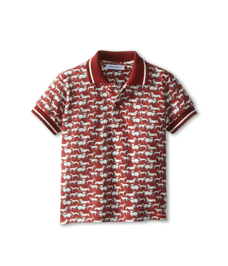 Dolce & Gabbana Kids - Dog Print Polo (Infant) (Red) Boy's Clothing