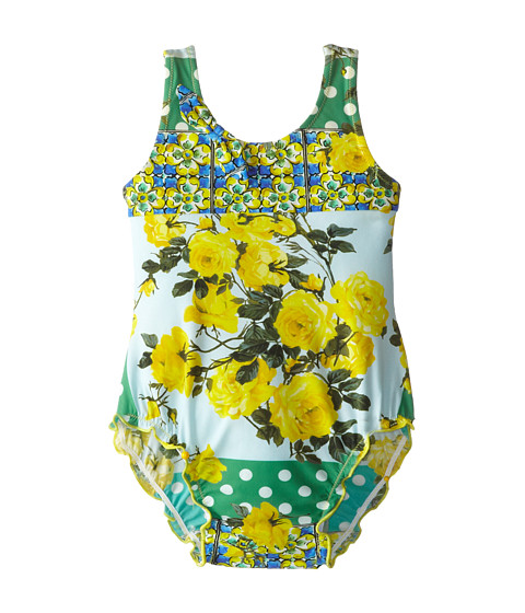 Dolce & Gabbana - Floral Print Swimsuit (Infant) (Yellow/Green) Women's Swimsuits One Piece