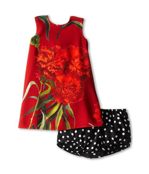 Dolce & Gabbana - Rose Silk Print Dress (Infant) (Black Multi) Women's Dress