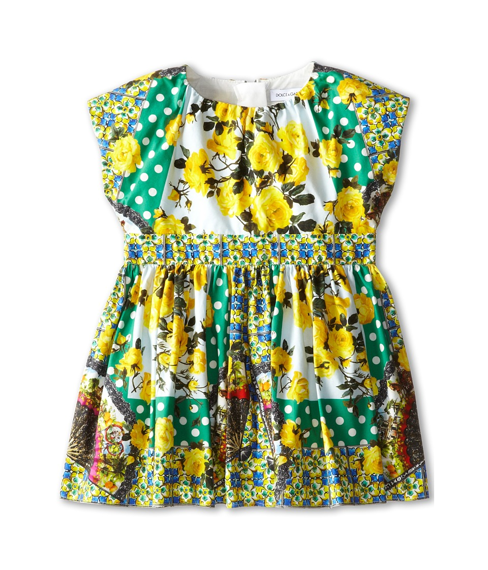 Dolce & Gabbana Kids - Floral Print Poplin Two Piece Dress (Infant) (Green/Yellow) Girl's Dress