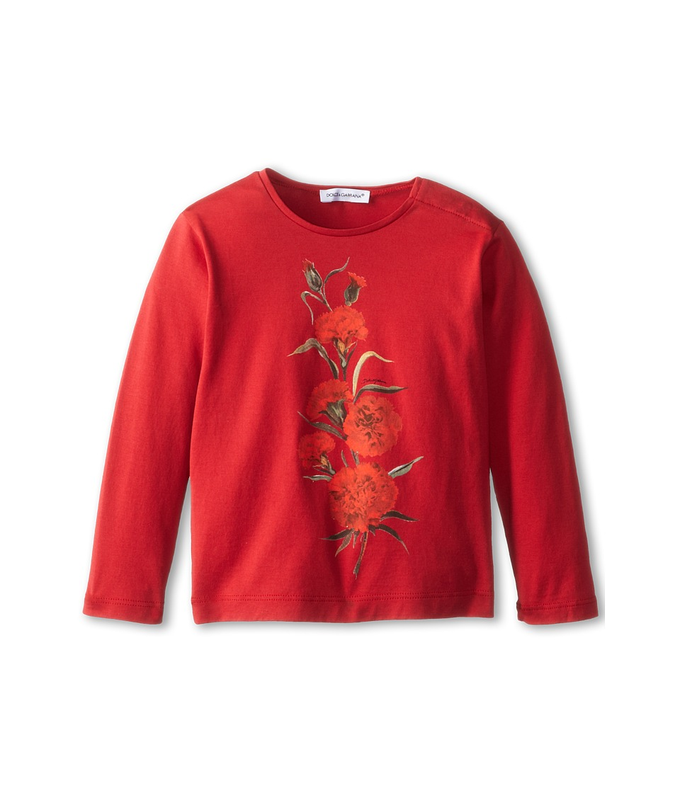 Dolce & Gabbana Kids - L/S Rose Embroidered T-Shirt (Infant) (Red) Girl's T Shirt