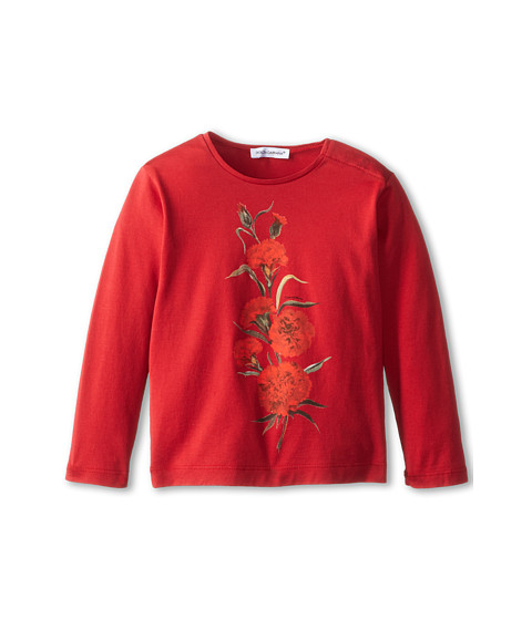 Dolce & Gabbana - L/S Rose Embroidered T-Shirt (Infant) (Red) Women's T Shirt