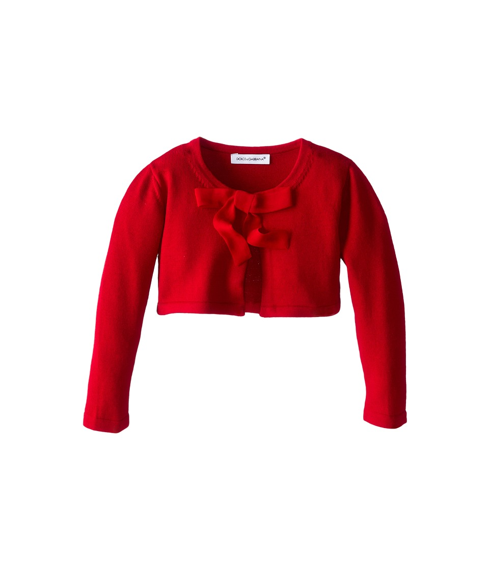 Dolce & Gabbana Kids Lace Front Cropped Cardigan (Infant) (Red) Girl