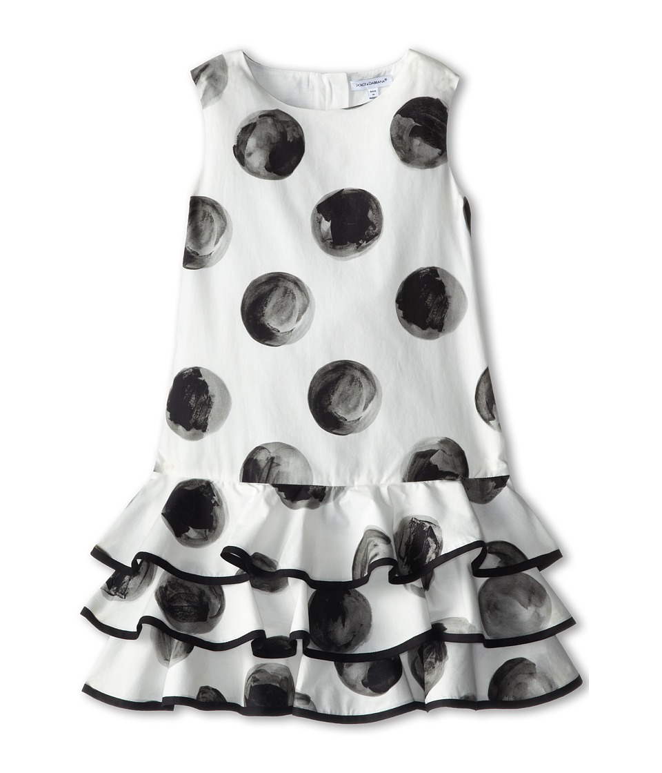 Dolce & Gabbana - Poplin Polka Dot Dress (Toddler/Little Kids) (White/Black) Women