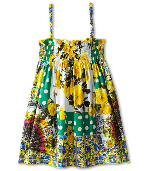 Dolce & Gabbana - Floral Print Cover-Up Dress (Toddler/Little Kids) (Yellow/Green) Women's Dress