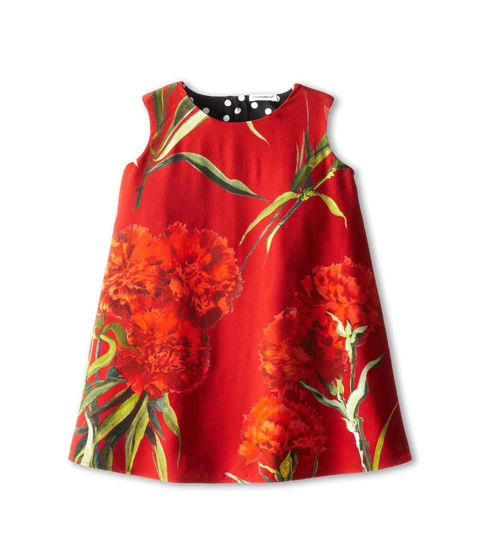 Dolce & Gabbana Kids - Rose Print Dress (Big Kids) (Black/Red) Girl's Dress