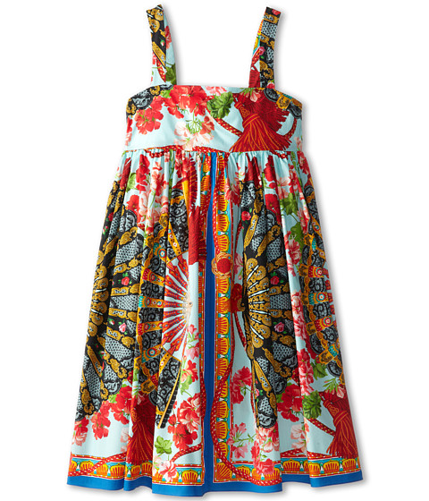 Dolce & Gabbana - Strappy Floral Print Poplin Dress (Big Kids) (Multi) Women's Dress