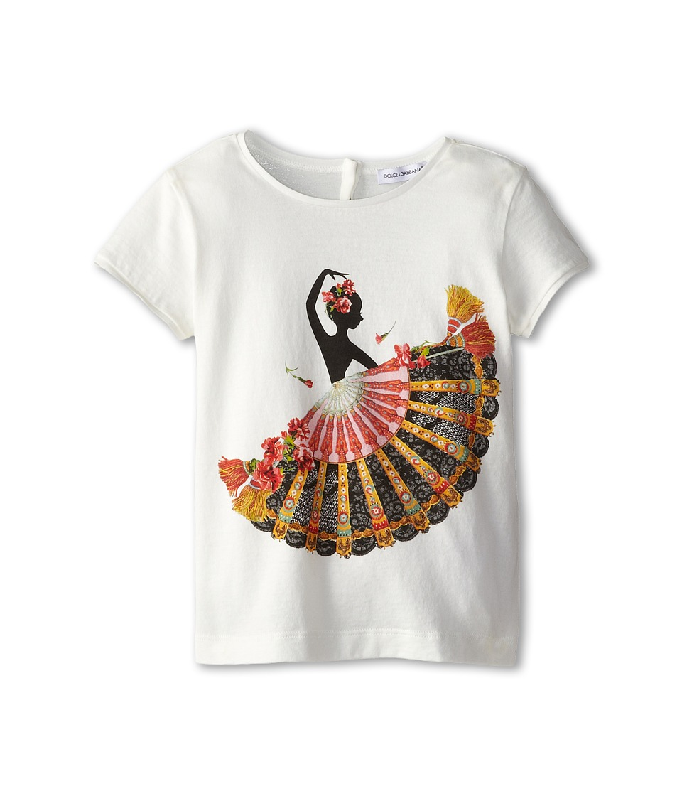 Dolce & Gabbana - Flamenco Print Tshirt (Toddler/Little Kids) (White) Women