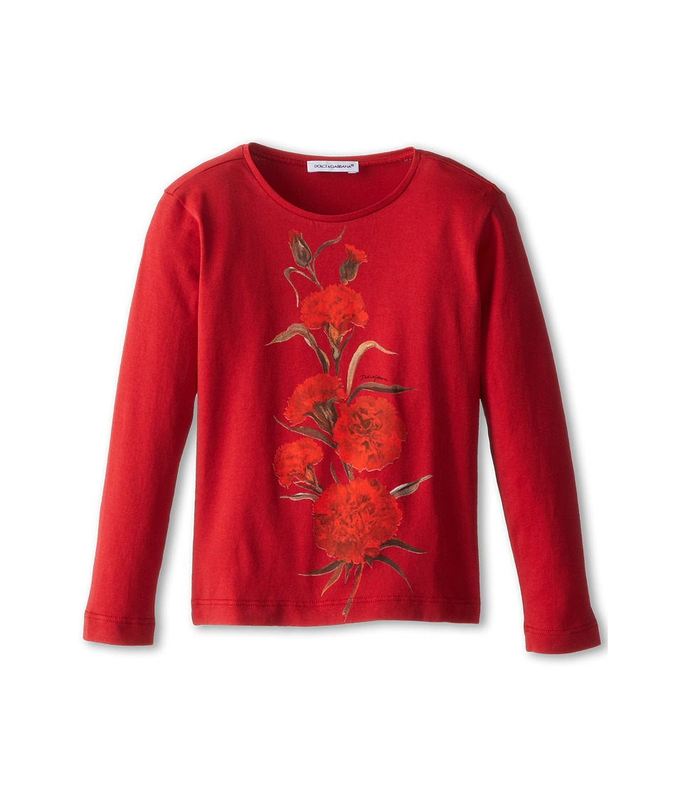 Dolce & Gabbana Kids - Embroidered Rose L/S Tee (Toddler/Little Kids) (Bordeaux) Girl's T Shirt