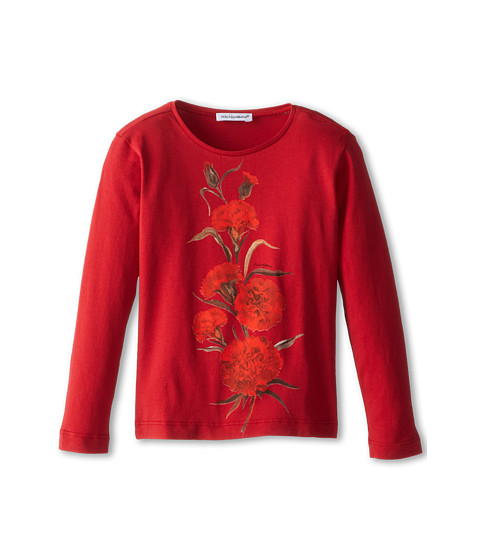 Dolce & Gabbana - Embroidered Rose L/S Tee (Toddler/Little Kids) (Bordeaux) Women's T Shirt