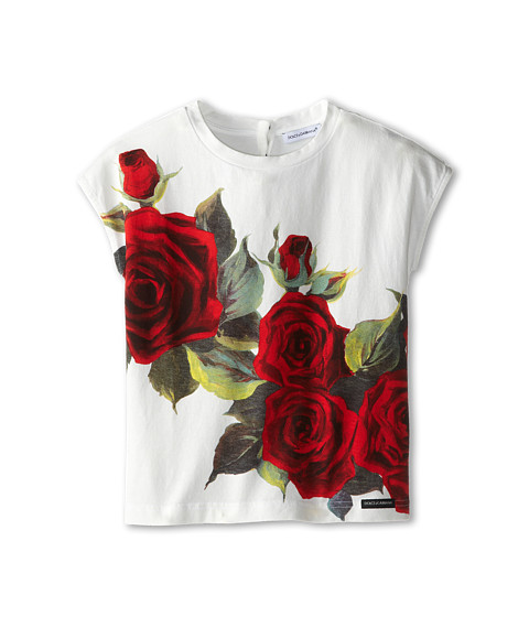 Dolce & Gabbana - Rose Print Jersey Tshirt (Toddler/Little Kids) (White) Women's Short Sleeve Pullover