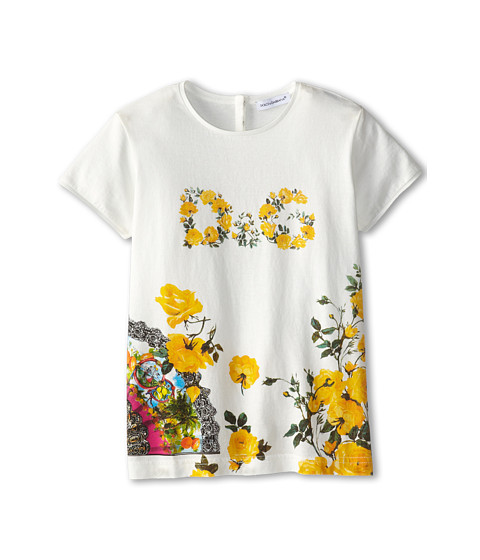 Dolce & Gabbana - Floral Logo Tshirt (Toddler/Little Kids) (White) Women's T Shirt