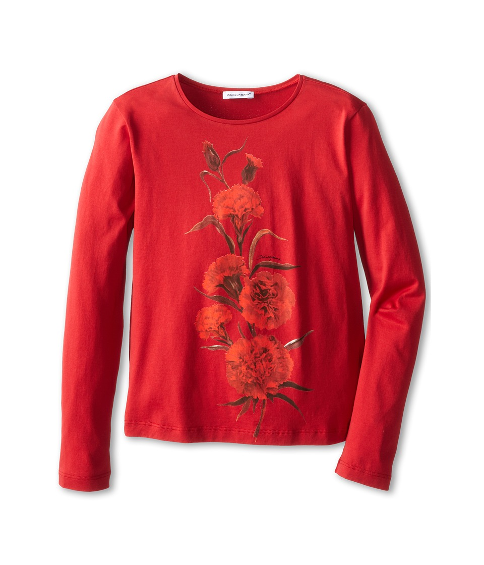 Dolce & Gabbana - Embroidered Rose L/S Tee (Big Kids) (Bordeaux) Women