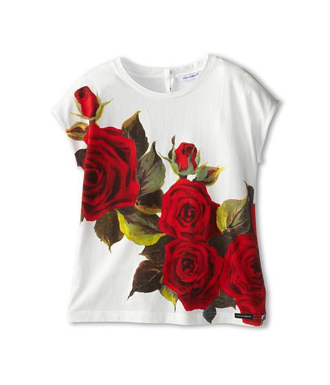 Dolce & Gabbana - Rose Print Jersey Tshirt (Big Kids) (White) Women