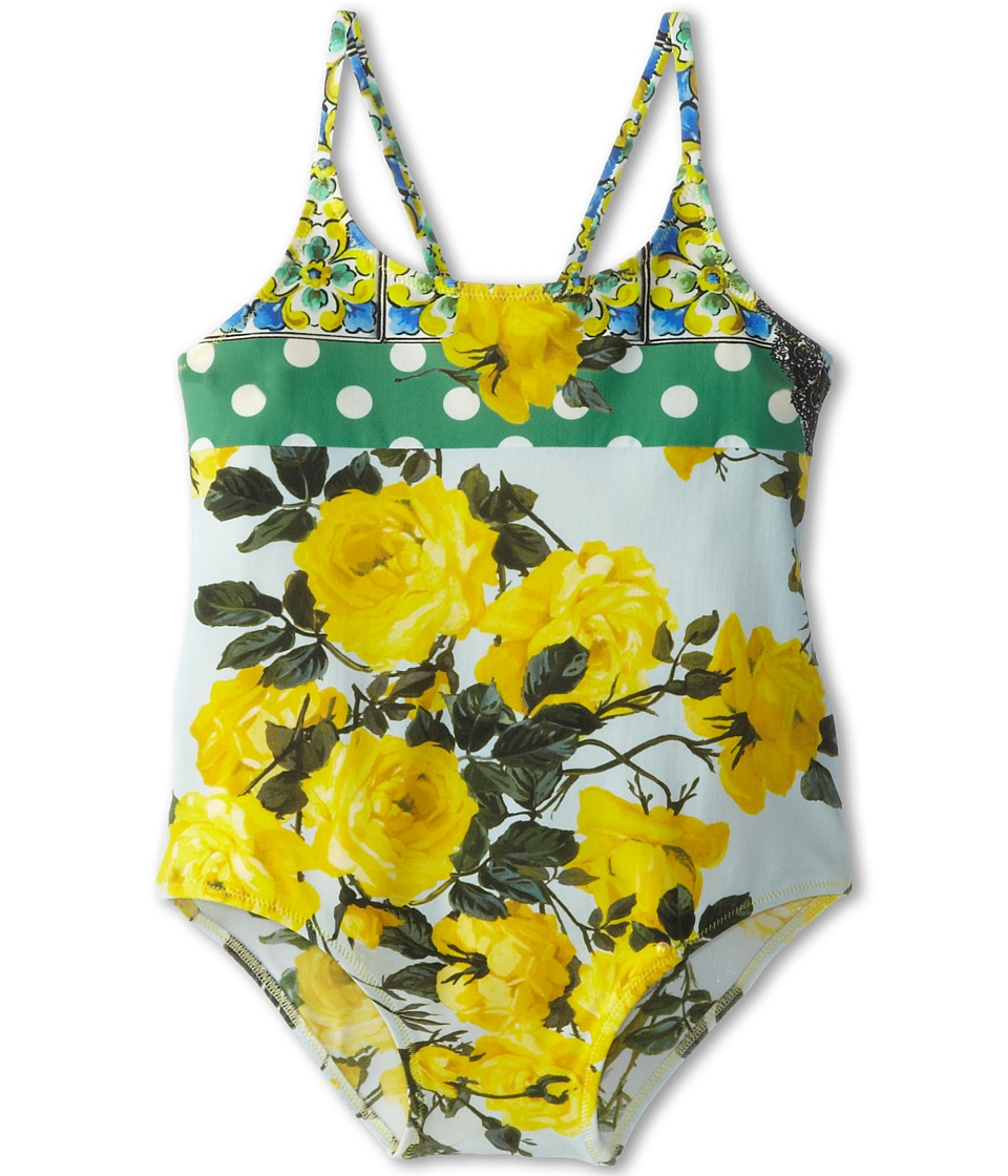 Dolce & Gabbana - Floral Print One Piece Swimsuit (Toddler/Little Kids) (Yellow/Green) Women's Swimsuits One Piece
