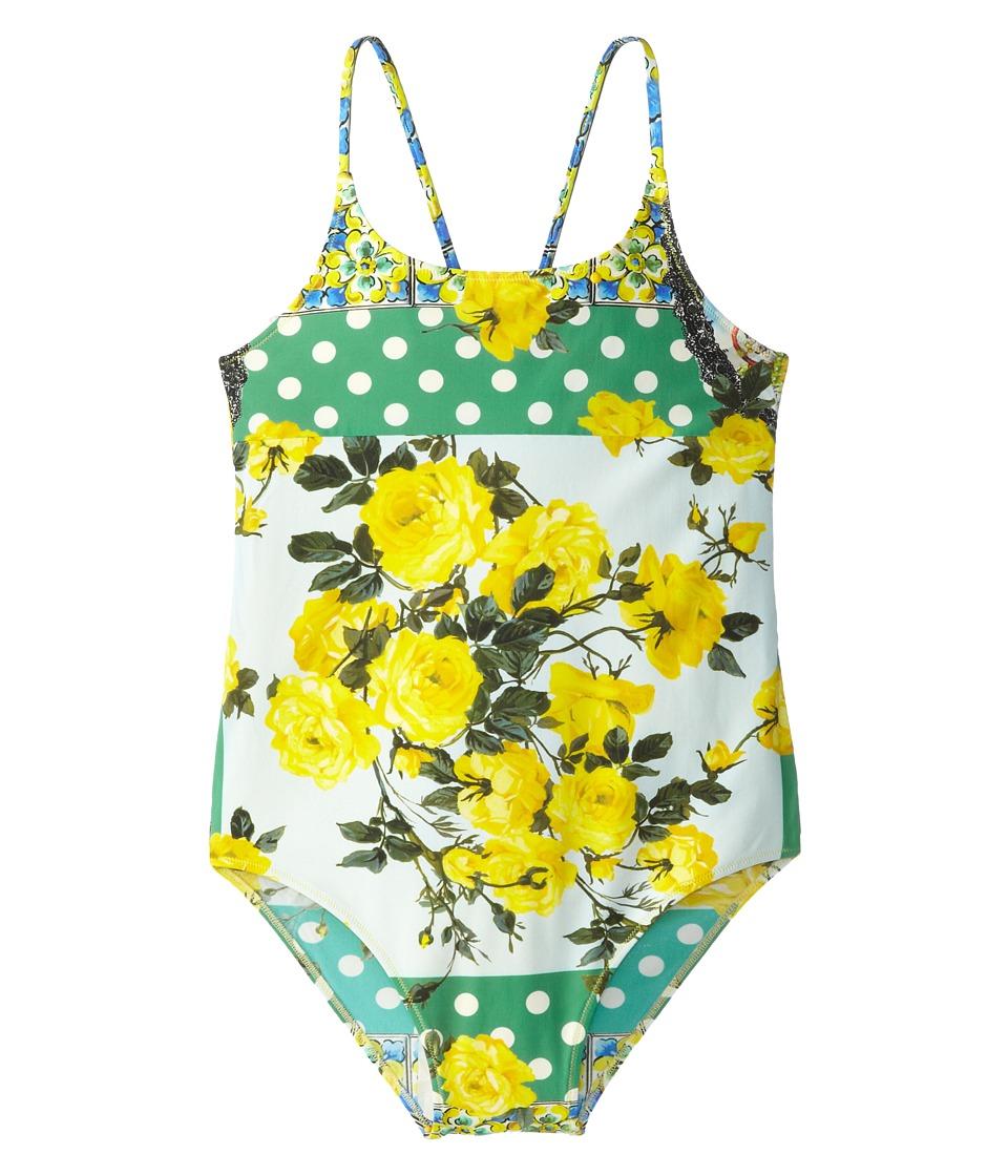 Dolce & Gabbana - Floral Print One Piece Swimsuit (Big Kids) (Yellow/Green) Women