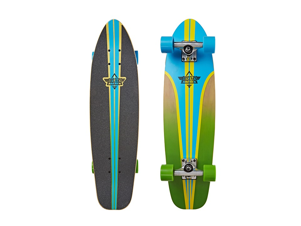 Dusters - Glassy Pinstripe Fiberglass (Blue/Yellow) Skateboards Sports Equipment