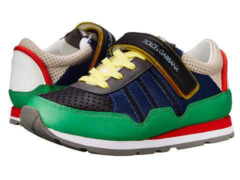 Dolce & Gabbana - Multicolor Hook/Loop Sneaker (Little Kid/Big Kid) (Blue/Grey) Men's Shoes
