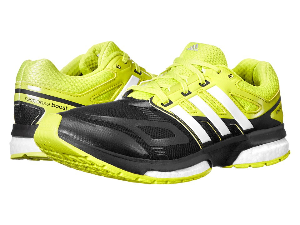 adidas Running - Response Boost Techfit (Black/White/Semi Solar Yellow) Men's Running Shoes