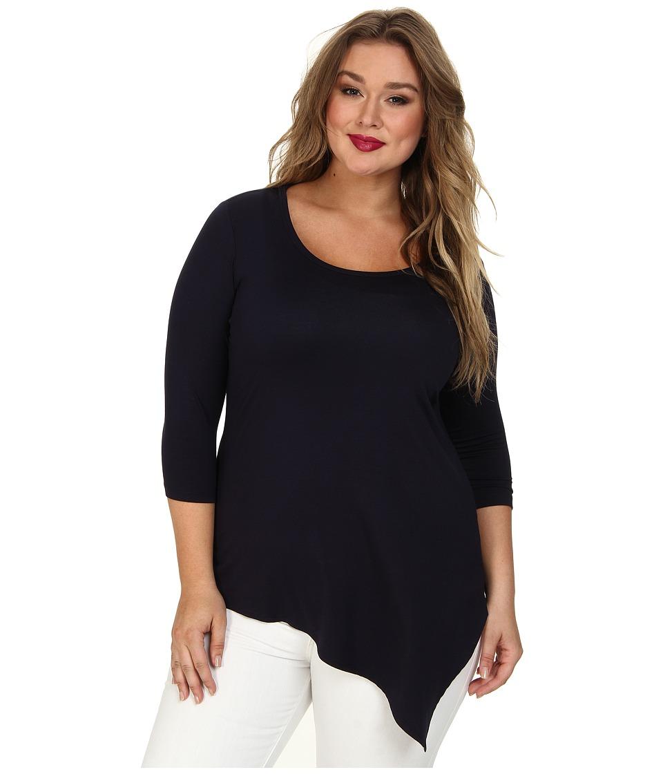 Karen Kane Plus - Plus Size Asymmetrical Hem Tee (Navy) Women's T Shirt