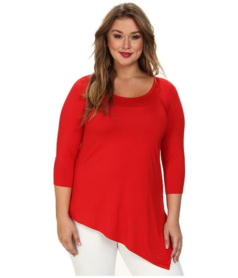 Karen Kane Plus - Plus Size Asymmetrical Hem Tee (Tangerine) Women's T Shirt