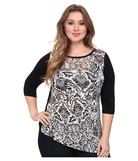 Karen Kane Plus - Plus Size Asymmetrical Hem Top (White w/ Black) Women's Clothing