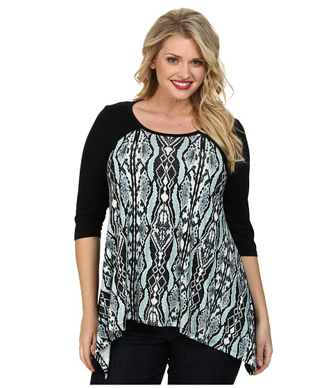Karen Kane Plus - Plus Size Handkerchief Top (Mist) Women's Clothing