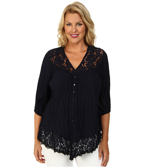 Karen Kane Plus - Plus Size Lace Inset Top (Navy) Women's Blouse