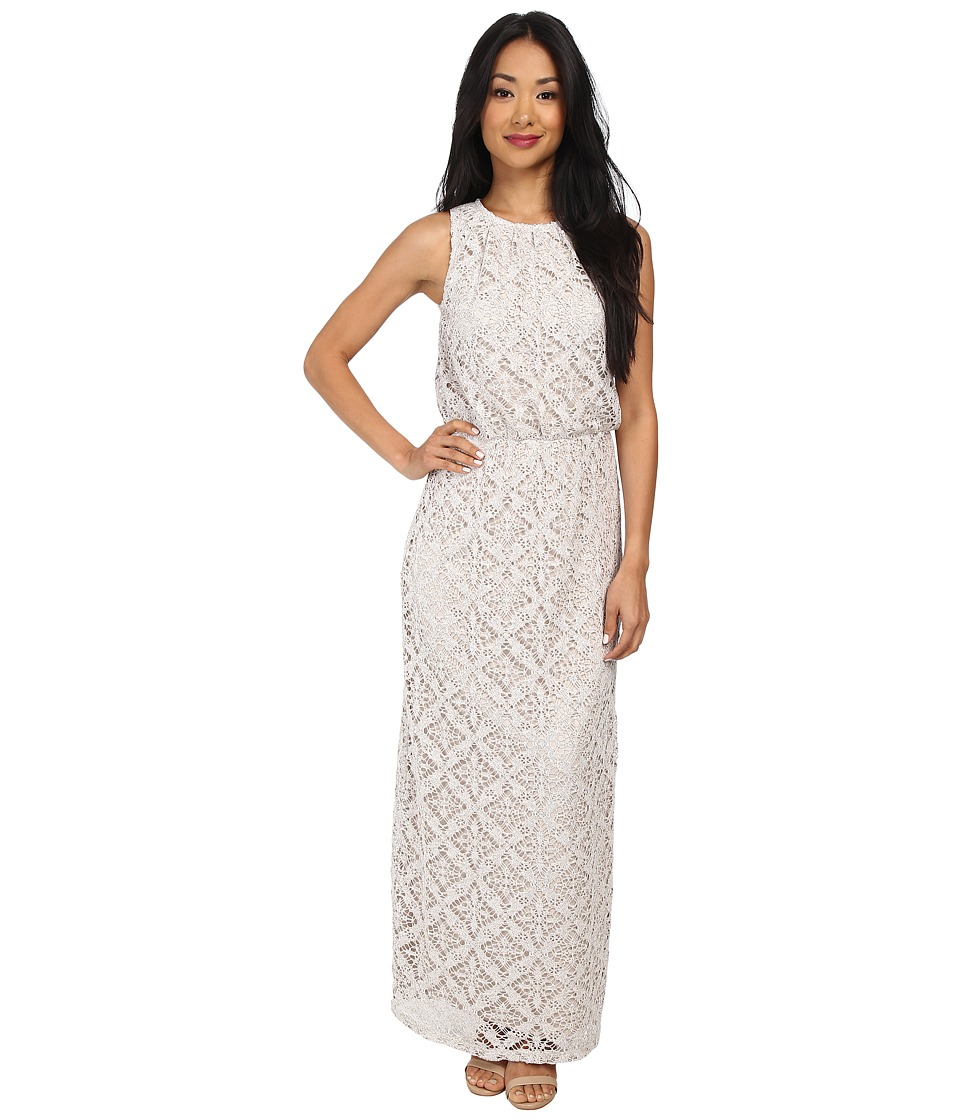 London Times - Crochet Blouson Maxi Dress (Oatmeal) Women's Dress
