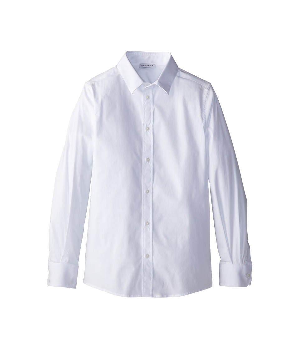 Dolce & Gabbana - Basic Stretch Poplin Button Up (Big Kids) (White) Men's Clothing