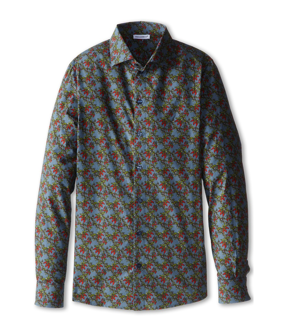 Dolce & Gabbana - Printed L/S Button Up (Big Kids) (Multi) Men