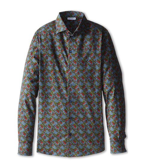 Dolce & Gabbana - Printed L/S Button Up (Big Kids) (Multi) Men's Long Sleeve Button Up