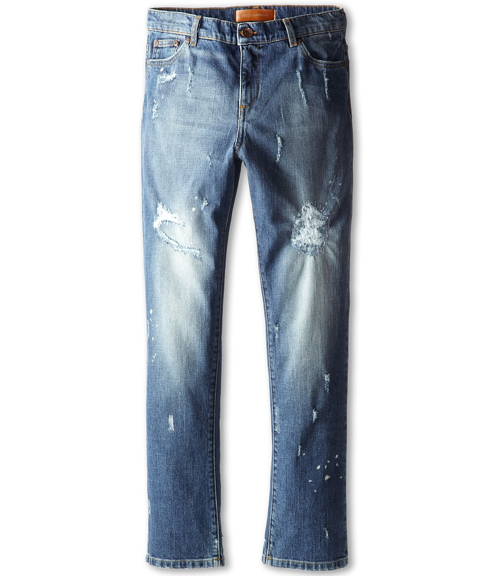 Dolce & Gabbana - Five-Pocket Distressed Jean (Big Kids) (Blue) Men