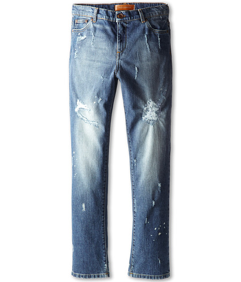 Dolce & Gabbana - Five-Pocket Distressed Jean (Big Kids) (Blue) Men's Jeans