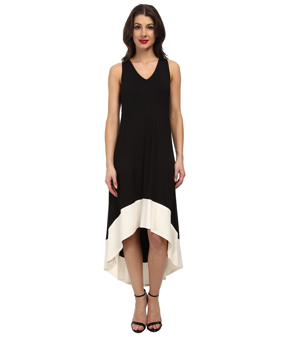 Karen Kane - Hi Lo Contrast Hem Dress (Black/Cream) Women