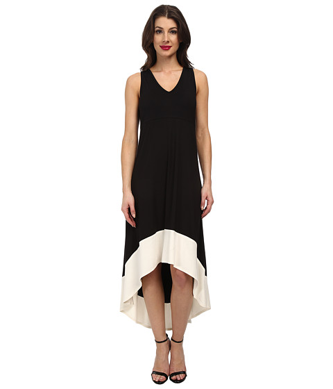 Karen Kane - Hi Lo Contrast Hem Dress (Black/Cream) Women's Dress