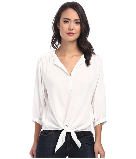 Karen Kane - Tie Front Shirred Top (Off-White) Women's Clothing