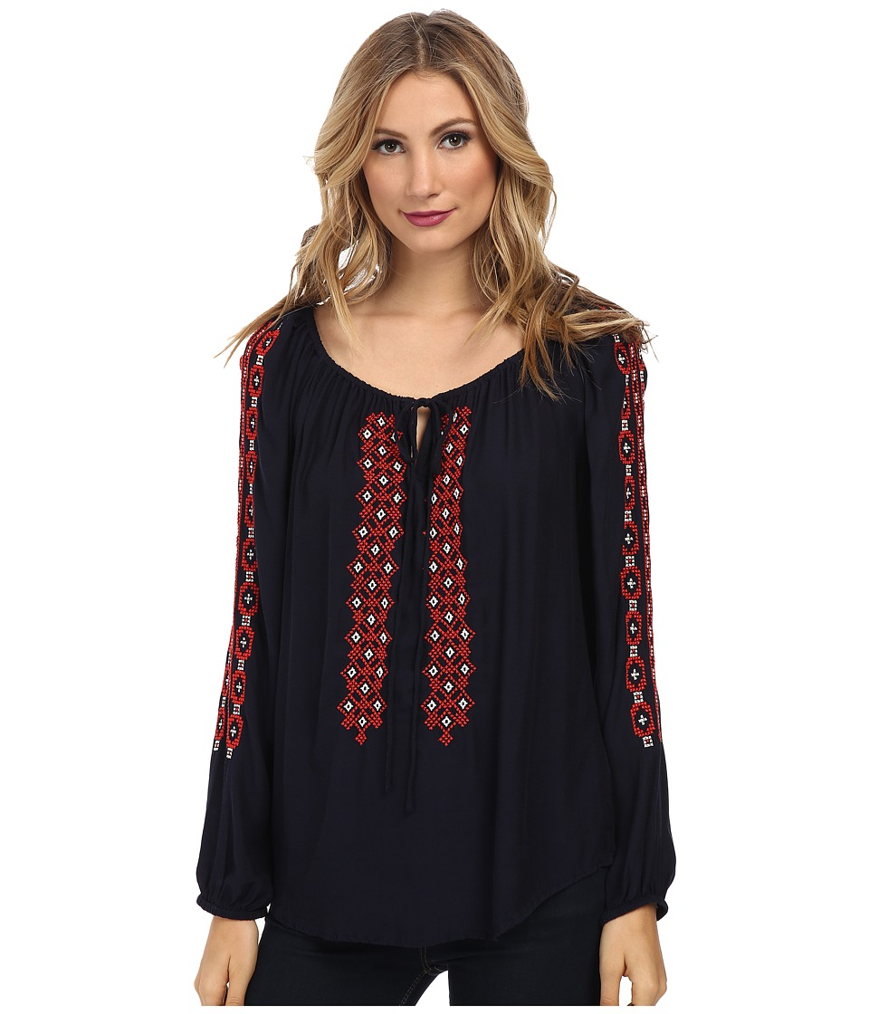 Karen Kane - Embroidered Tie Top (Navy) Women's Clothing