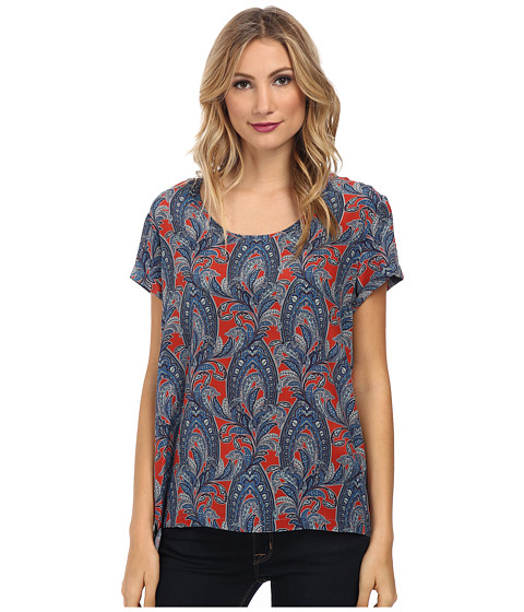 Karen Kane - Extended Back Cuff Sleeve Top (Paisley) Women's Clothing