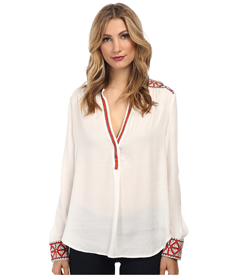 Karen Kane - Embroidered Placket Blouse (Off-White) Women's Blouse