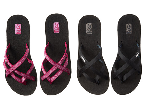 Teva - Mandalyn Wedge Ola 2-Pack (Black/Fleur Pink) Women's Sandals