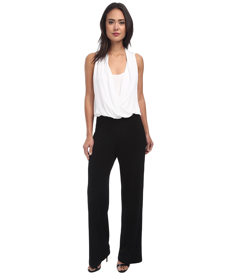 Karen Kane - Contrast Drape Front Jumpsuit (Off-White Black) Women's Jumpsuit & Rompers One Piece