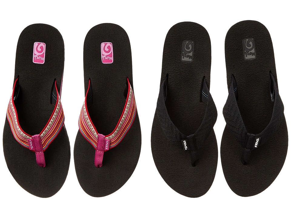 Teva - Mush II 2-Pack (Fronds Black/La Manta Red) Women