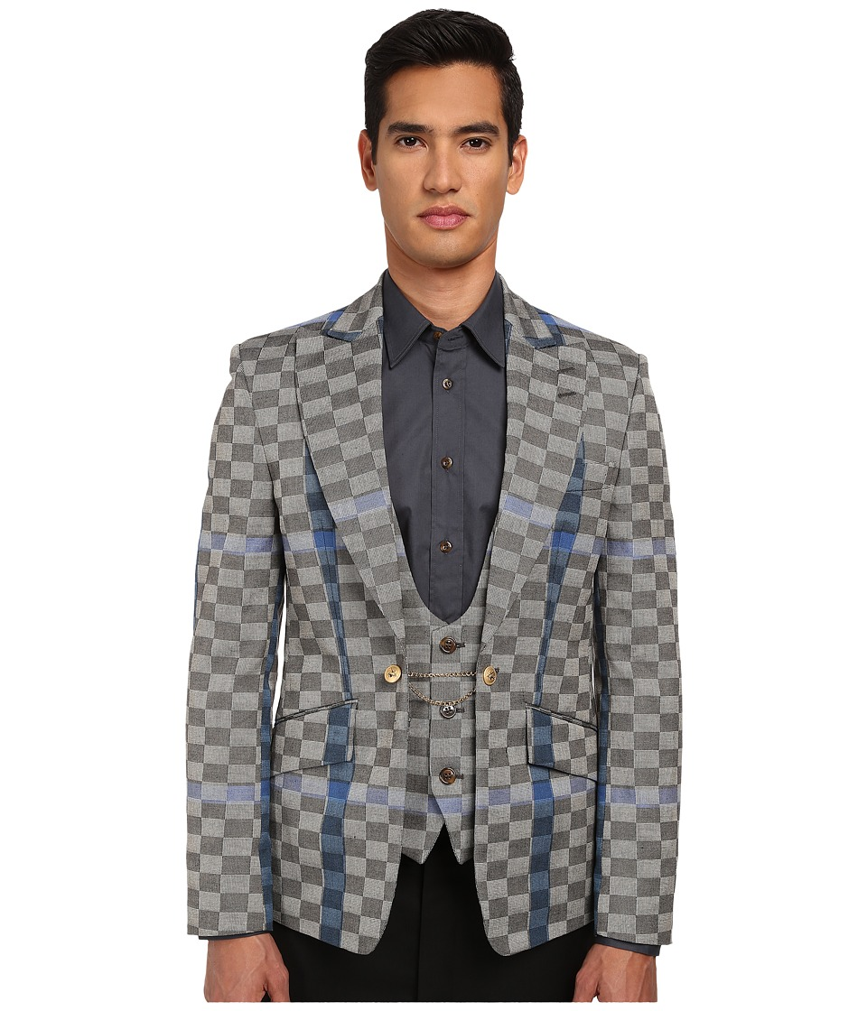 Vivienne Westwood MAN - Basket Weave Check Waistcoat Jacket (Grey Multi) Men's Jacket