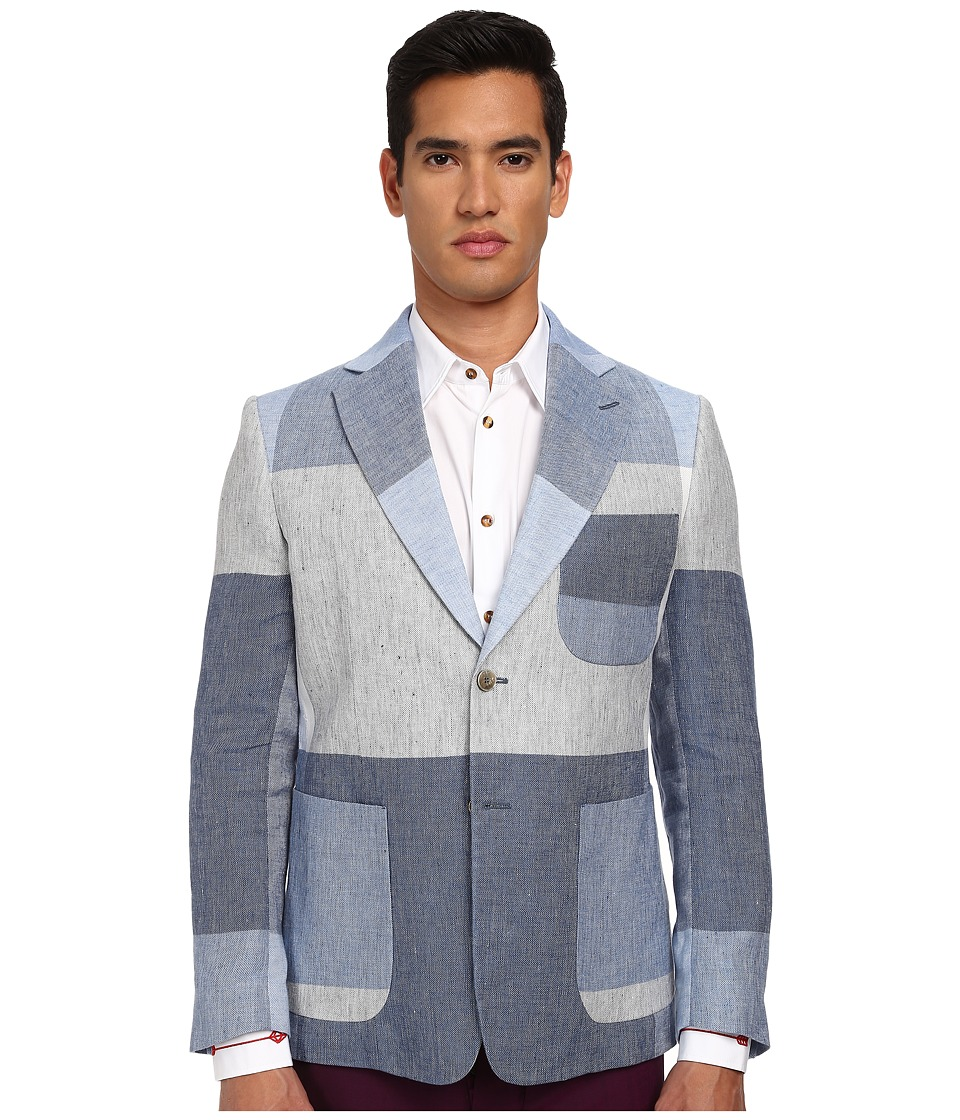 Vivienne Westwood MAN - Oversize Check Linen Patch Jacket (Navy/Grey) Men's Jacket