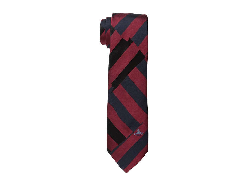Vivienne Westwood - Cut Striped Tie (Red/Navy) Ties