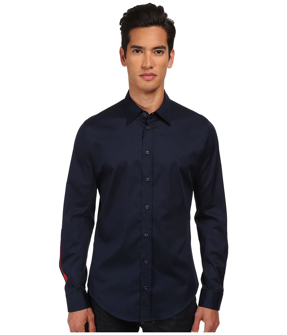 Vivienne Westwood MAN - Stretch Satin Button Up (Navy) Men's Clothing
